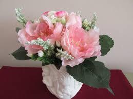 peonies pink floral arrangement angel container ceramic