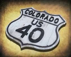vintage road sign reclaimed wood colorado route 40 retro