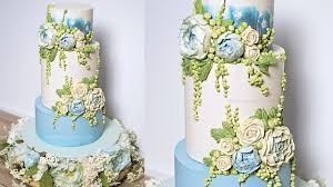 wedding cake buttercream blue peony buttercream wedding cake tutorial american cake