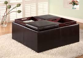 leather brown leather storage ottoman u2014 home ideas collection