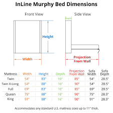 Sofa Bed Dimensions Inline Murphy Bed And Inline Sofa Murphy Bed With Couch