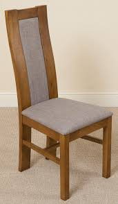 stanford dining room chair rustic oak and grey fabric