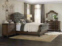 Tufted Sleigh Bed King Furniture Rhapsody Rustic Walnut With Grey King Size