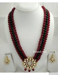 green fashion necklace images Maroon and green 3 layered mala necklace vilandi kundan pendant jpg