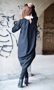 collar maxi dress long dress flared midi dress loose black line