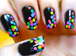 nail art designs dotted black and colorful nail art tutorial