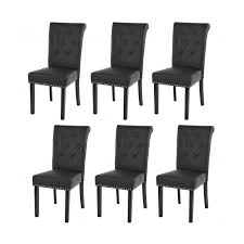 lot de 6 chaises salle à manger lot de 6 chaises de salle à manger design noir pieds foncés cds04210