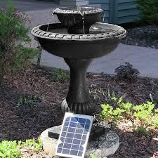 solar water fountain birdbath 2 tier patio outdoor backyard garden