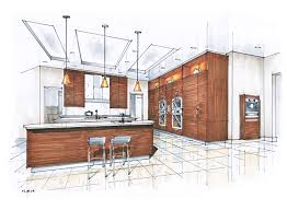 draw kitchen floor plan hand rendering mick ricereto interior product design