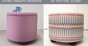Diy Reupholster Ottoman by 80 U0027s Fabric Ottoman Makeover From Mauve Monster To Terrific