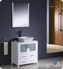 Modern Bathroom Sink Cabinet 30 Torino White Modern Bathroom Vanity W Vessel Sink Platinum Bath