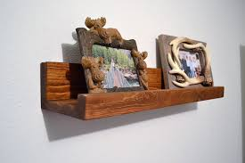 floating picture ledge pine wall bookshelf rustic photo