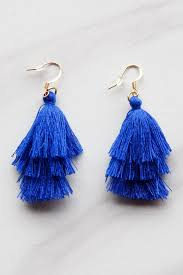 royal blue earrings royal blue small tassel earrings the impeccable pig
