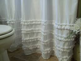 Burlap Ruffle Curtain White Cotton Ruffled Shower Curtain