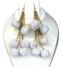 funky earrings bsquare white black pom pom fur funky earrings for women