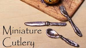 Miniature by Polymer Clay Tutorial Miniature Cutlery Silverware Youtube