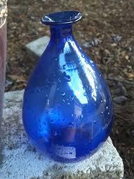 Antique Hand Blown Glass Vases Vintage Glass Blue Bulbous Bud Vase Blenko Glass Co Tear Drop