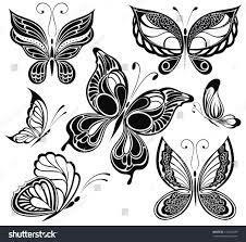 black white butterfliestattoo design stock vector 110402699