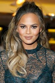 soap stars hairstyles red carpet hairstyle curly half updo chrissy teigen celebrity