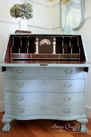 My Gold Desk Secretary Desk Makeover W Duck Egg Blue U0026 3 Colored Waxes Chalk