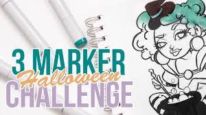 3 marker challenge halloween edition youtube