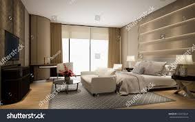 modern hotel room tv window 3d stock illustration 623079524