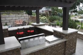 Outdoor Kitchen Ideas Designs - deck kitchen ideas u shaped stone outdoor island stainless steel
