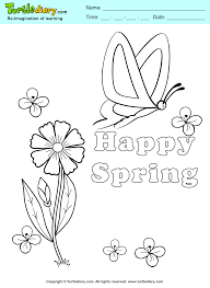happy spring coloring page turtle diary