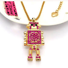 red gold necklace images Betsey johnson jewelry redgold robot pendant necklace hot poshmark jpg