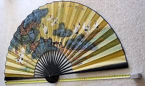 oriental fan wall hanging vintage handmade japanese fan wall hanging home decor 112 50