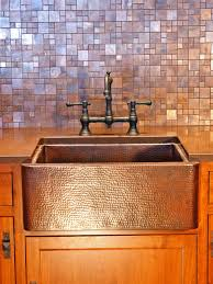 antique copper kitchen rustic cabinets simple backsplash tiled