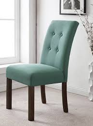Upholstered Parsons Dining Room Chairs Homepop Modern 4 Button Tufted Aqua Blue Upholstered