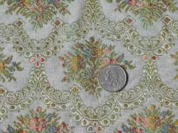 Tapestry Fabrics Upholstery Vintage Floral Tapestry Upholstery Fabric Faded French Blue Color