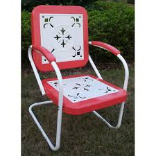 Old Metal Outdoor Furniture by Retro Metal Outdoor Chair White U0026 Red Coral Sled Base Dcg Stores