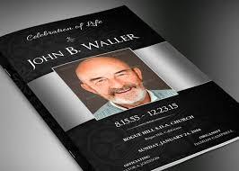 modern funeral programs black silver dignity funeral program publisher template inspiks