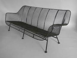 Vintage Woodard Wrought Iron Patio Furniture by Woodard Wrought Iron With Mesh Outdoor Garden Couch At 1stdibs
