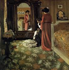 interior bedroom with two figures felix vallotton oil painting