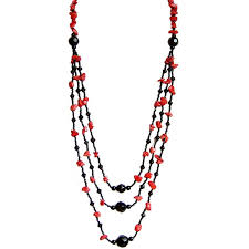 red necklace accessories images Red black multi strand layered long necklaces natural stone jewellery jpg