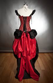 custom sizel black and red steampunk burlesque corset with train