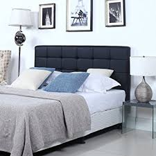 amazon com modern deluxe tufted black bonded leather headboard