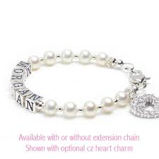 Infant Name Bracelet Pearls U0026 Silver Baby Bracelets In White Cultured Pearls Baby And