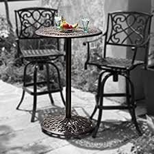 Cast Iron Bistro Table And Chairs Amazon Com Paris Cast Aluminum Outdoor Bar Height Bistro Table
