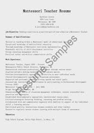 Teachers Resumes Resume Format For Montessori Teacher Free Resume Example And