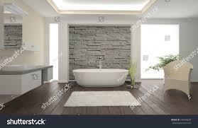 modern bathroom interior stone wall stock illustration 144589607