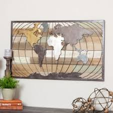 Steel World Map Wall Decor
