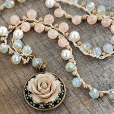 bead necklace with pendant images Peach opal dawn beaded necklace with vintage rose pendant by sweet jpg