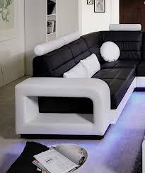 Wohnzimmerm El Weiss Sam Design Wohnlandschaft New York Mit Led Beleuchtung In Schwarz