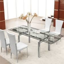 Round Glass Dining Table Set For 6 Chair Very Practical Expandable Glass Dining Table Glass Extending