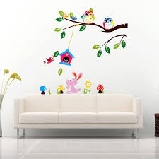 children kids room wall sticker diy removable forest owl tree bird