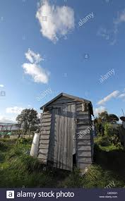 ramshackle garden shed on allotment sunny with blue sky behind